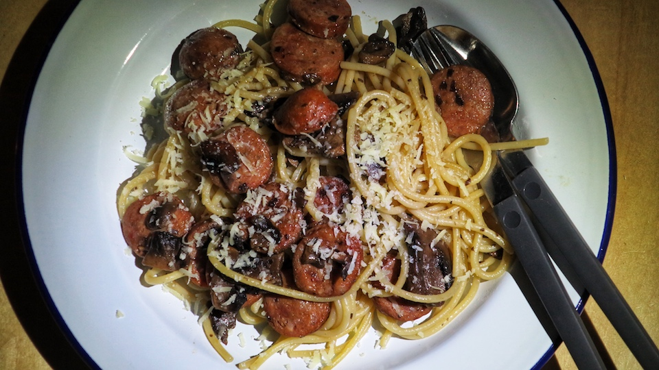 Chorizo Mushrooms Spaghetti